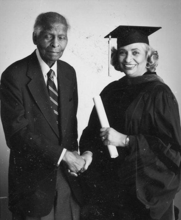 Being congratualted on her honarary doctorate by her mentor Dr. Benjamin Mays